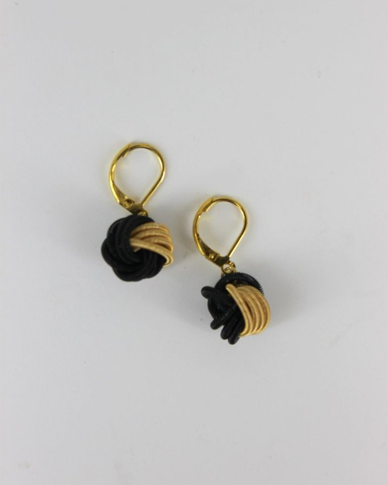 verdigris Black & Gold Knot Pianowire earrings