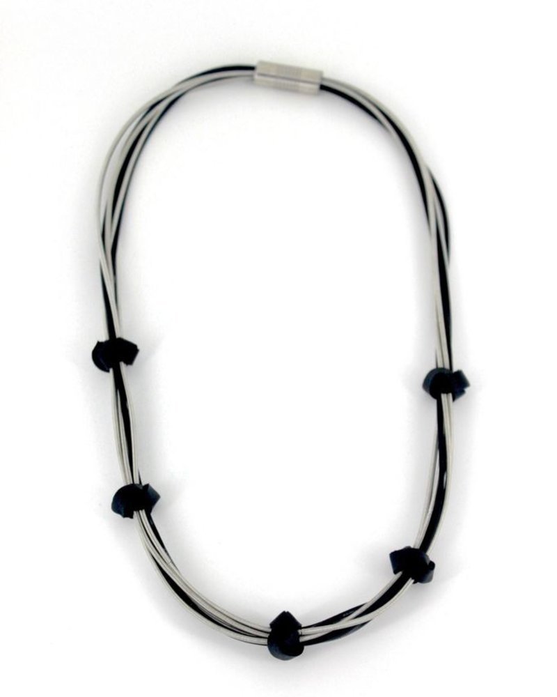 verdigris Strand Silver/Black PianoWire Necklace w/ 5 Leather Knots