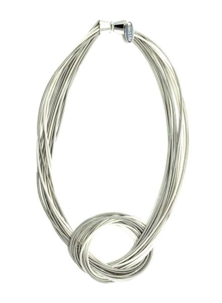 verdigris Silver and White Large Knot piano wire necklace