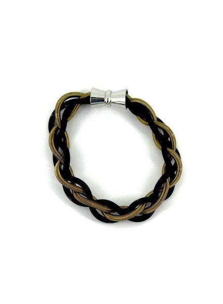 verdigris Black/Bronze Braided PianoWire Bracelet w/ Magnetic clasp