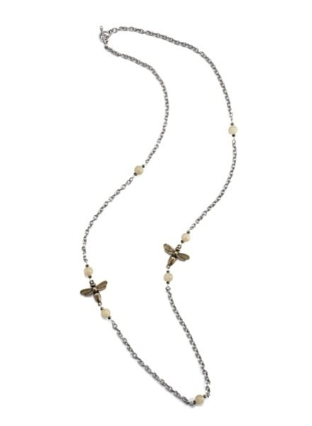 French Kande Cable Chain with Yellow Jade Accents and Miel Pendants