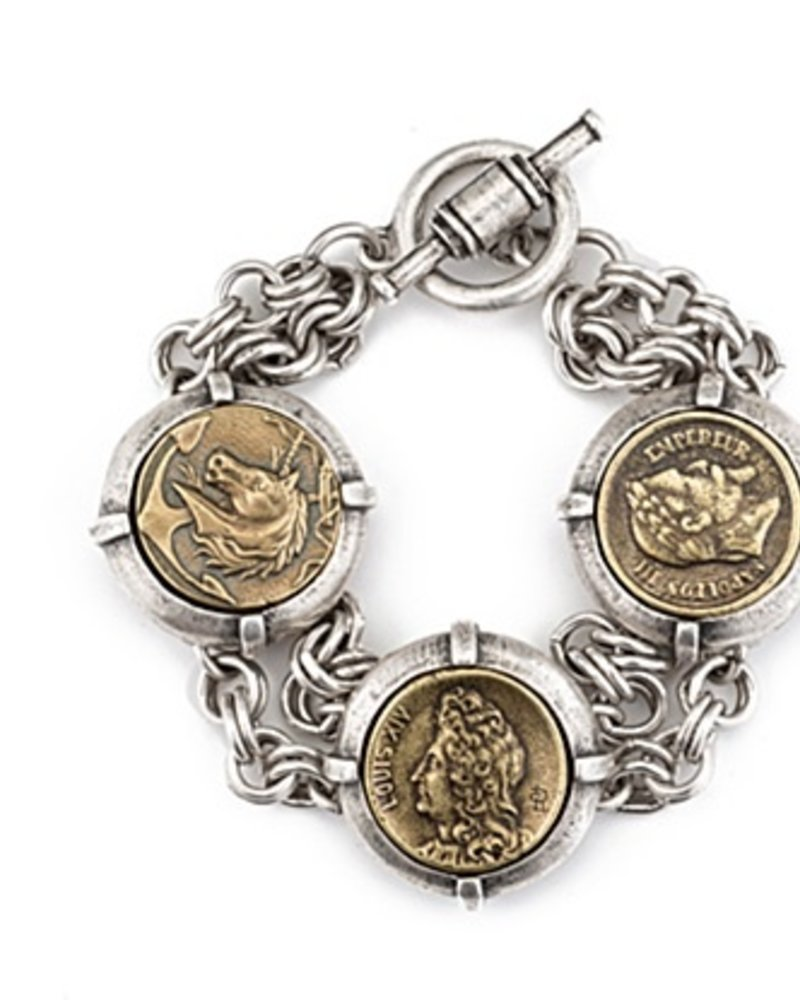 French Kande DOUBLE CABLE CHAIN WITH THREE MEDALLIONS