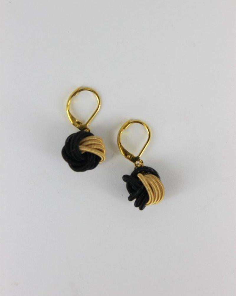 verdigris Black/ & Gold Knot PianoWire earrings