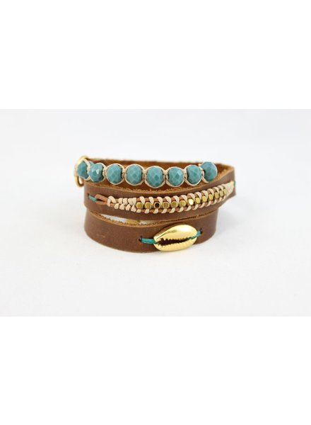 verdigris LeatherWrap Shell Bracelet