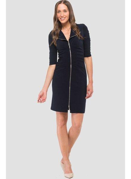 Joseph Ribkoff Ruched front zipper long sleeve dress