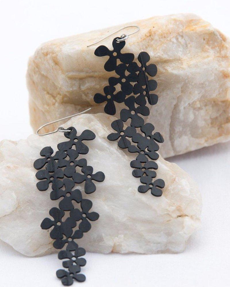 verdigris Large Flower Cluster Rubber Earrings