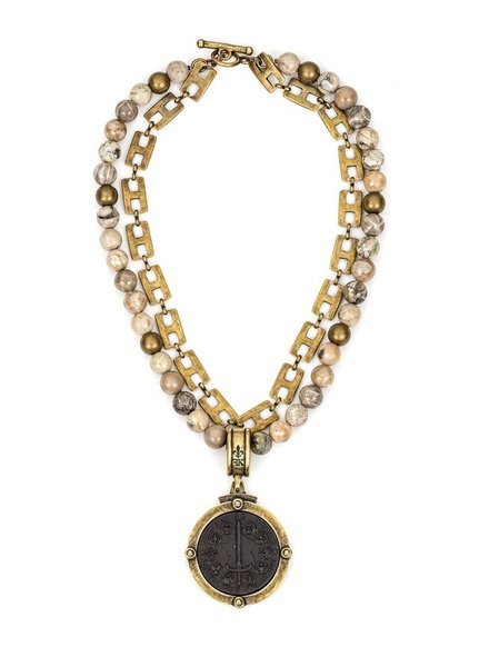 French Kande DOUBLE STRAND CAFE AU LAIT MIX AND HENRI CHAIN WITH DU TERRE MEDALLION