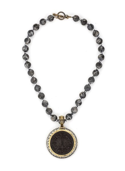 French Kande SANDBLAST BLACK LABRADORITE AND SILVER CRYSTAL WITH BLACK DU TERRE MEDALLION