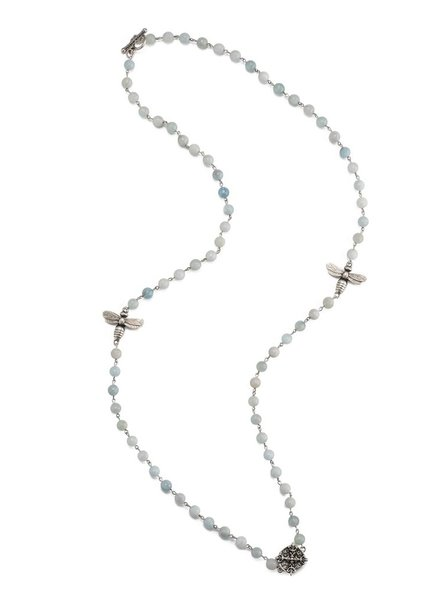 """French Kande 42"""" FACETED GREY LABRADORITE BRASS NECKLACE"""