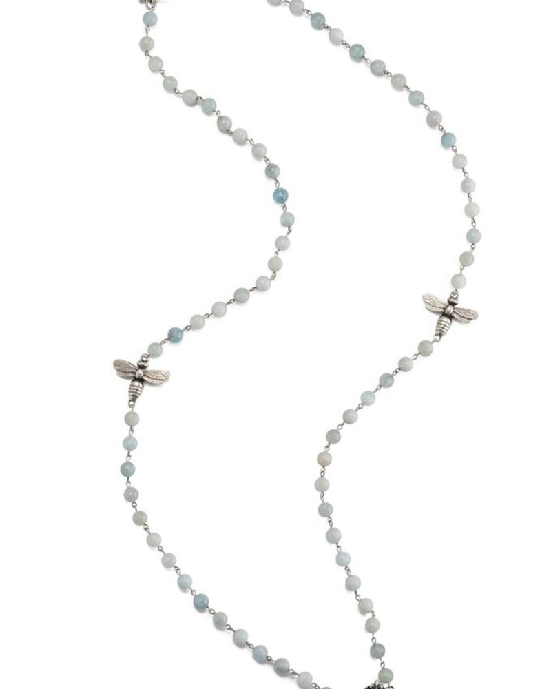 "French Kande 42"" FACETED GREY LABRADORITE BRASS NECKLACE"
