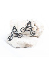 verdigris Bicycle rubber earringsm