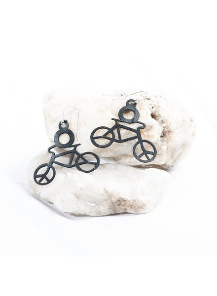 verdigris Bicycle rubber earrings