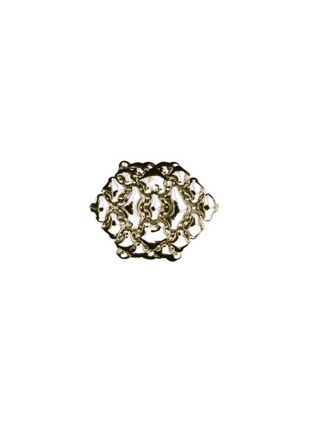 Liquid Metal Silver Mesh Diamond Shaped Ring, size 8