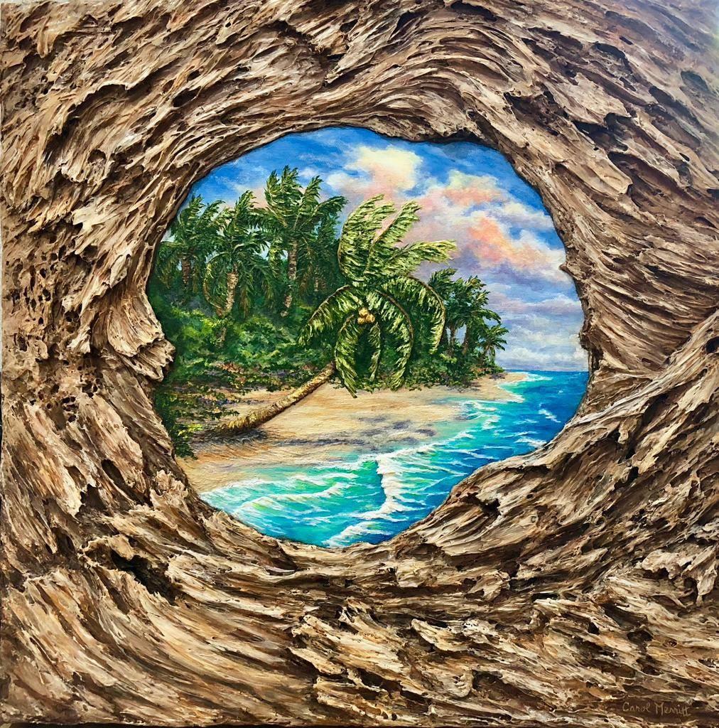 Carol Merritt Island Paradise (Original Acrylic, Signed, 20 x 20)