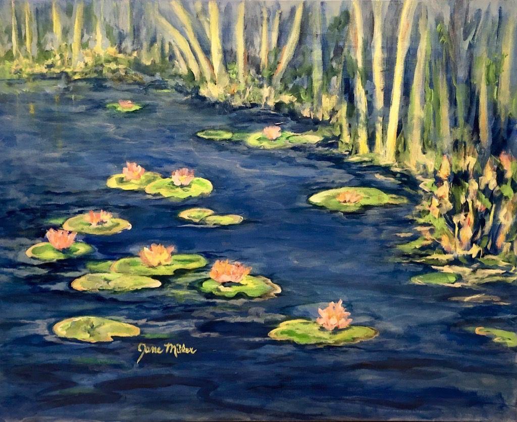"Jane Miller Blue Lagoon (Original Acrylic, Signed, 30""x24"")"