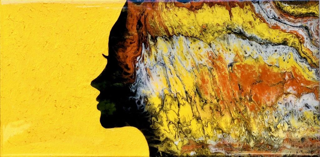 Sandra Stroot Black Girl Silhouette (Fluid Acrylic, 10x20)