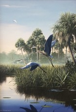 Cliff Potenza Herons in Flight (Embellished Giclee, Framed, 18x24)