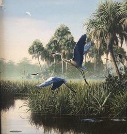 Cliff Potenza Herons in Flight (Embellished Giclee, Framed, 18x24)