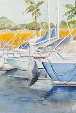 Sharon McCuen Indiantown Boat Yard (Original Watercolor, Mat, Frame, 10x14)