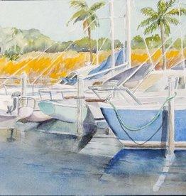 Sharon McCuen Indiantown Boat Yard (Original Watercolor, Mat, Frame, 10x14)