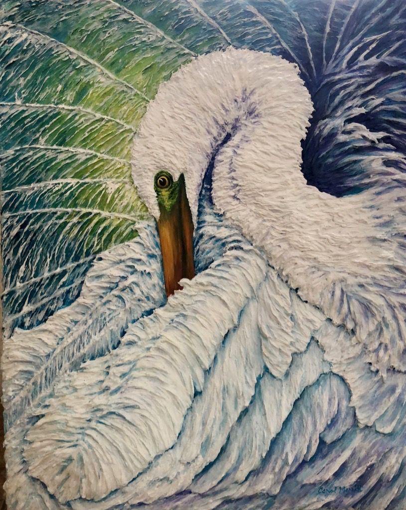 Carol Merritt Great Egret in Paradise (Original Acrylic, Signed, 16x20)