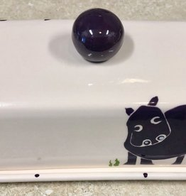 "Rare Earth Gallery Butter Dish, Hippo (Lid w/Knob, European Single, 8"" x 4.25"")"