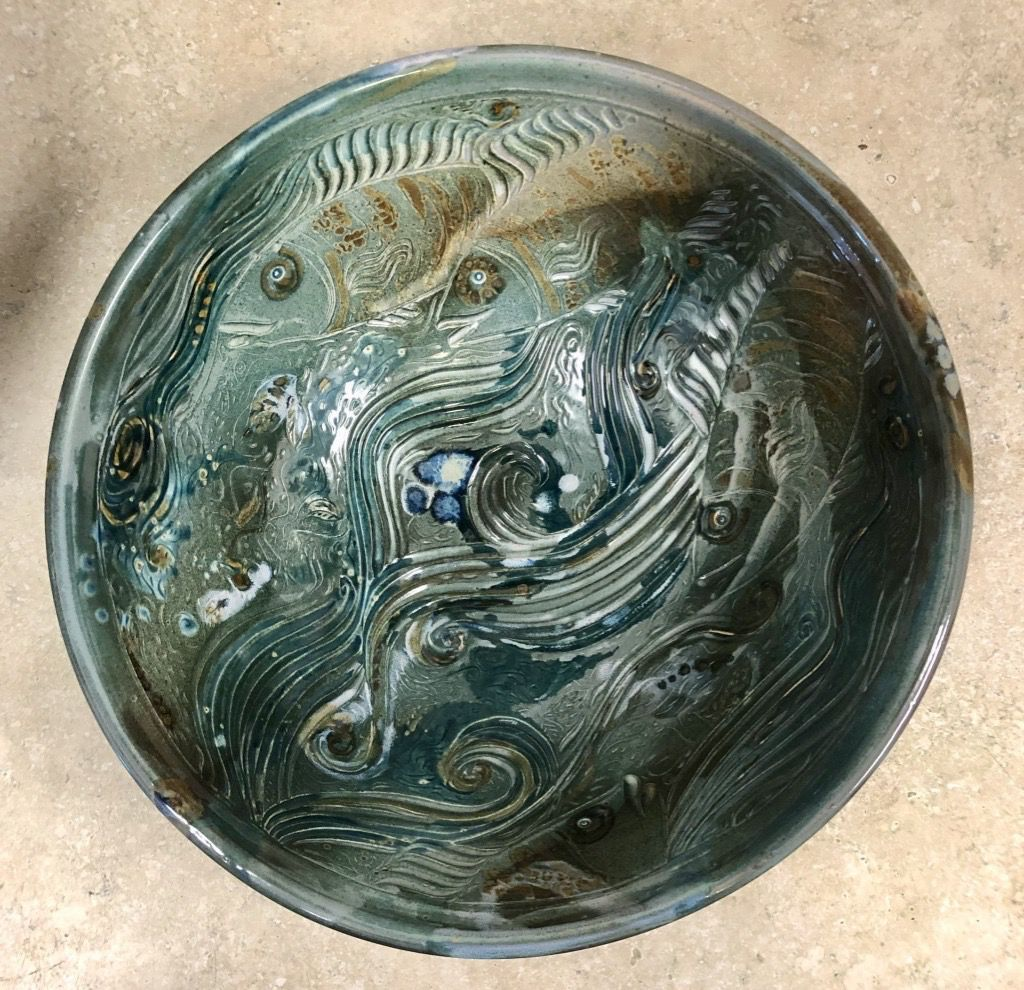 Gail Snively Bowl (Lg, Carved Fish, #441)