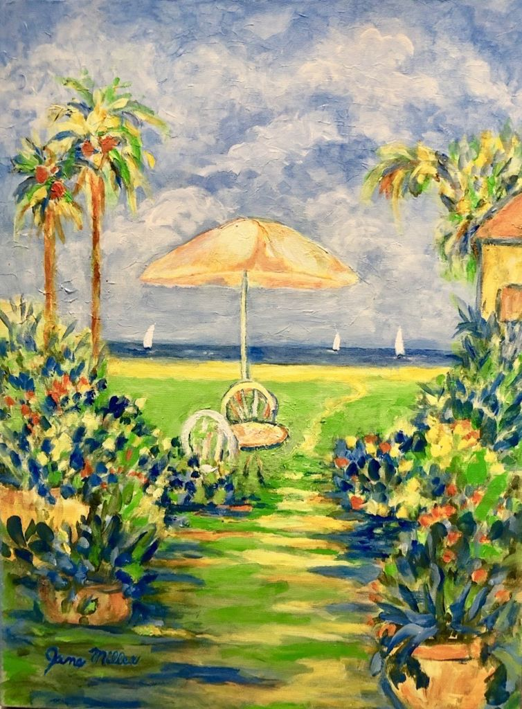 "Jane Miller Palm Beach Way (Original Acrylic, Signed, 18""x24"")"