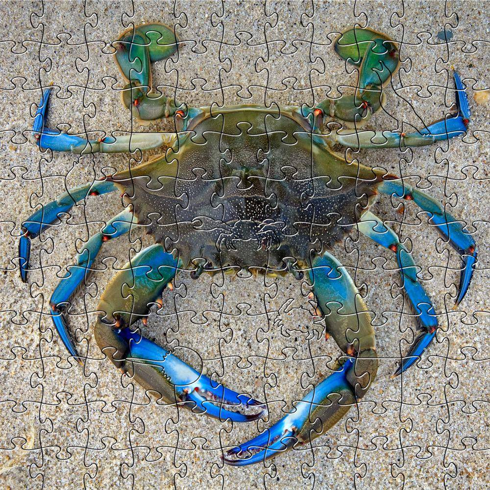 Rare Earth Gallery Blue Crab (Sm, 125 Pieces, Artisanal Wooden Jigsaw Puzzle)