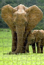 Rare Earth Gallery Elephants (Md, 198 Pieces, Artisanal Wooden Jigsaw Puzzle)