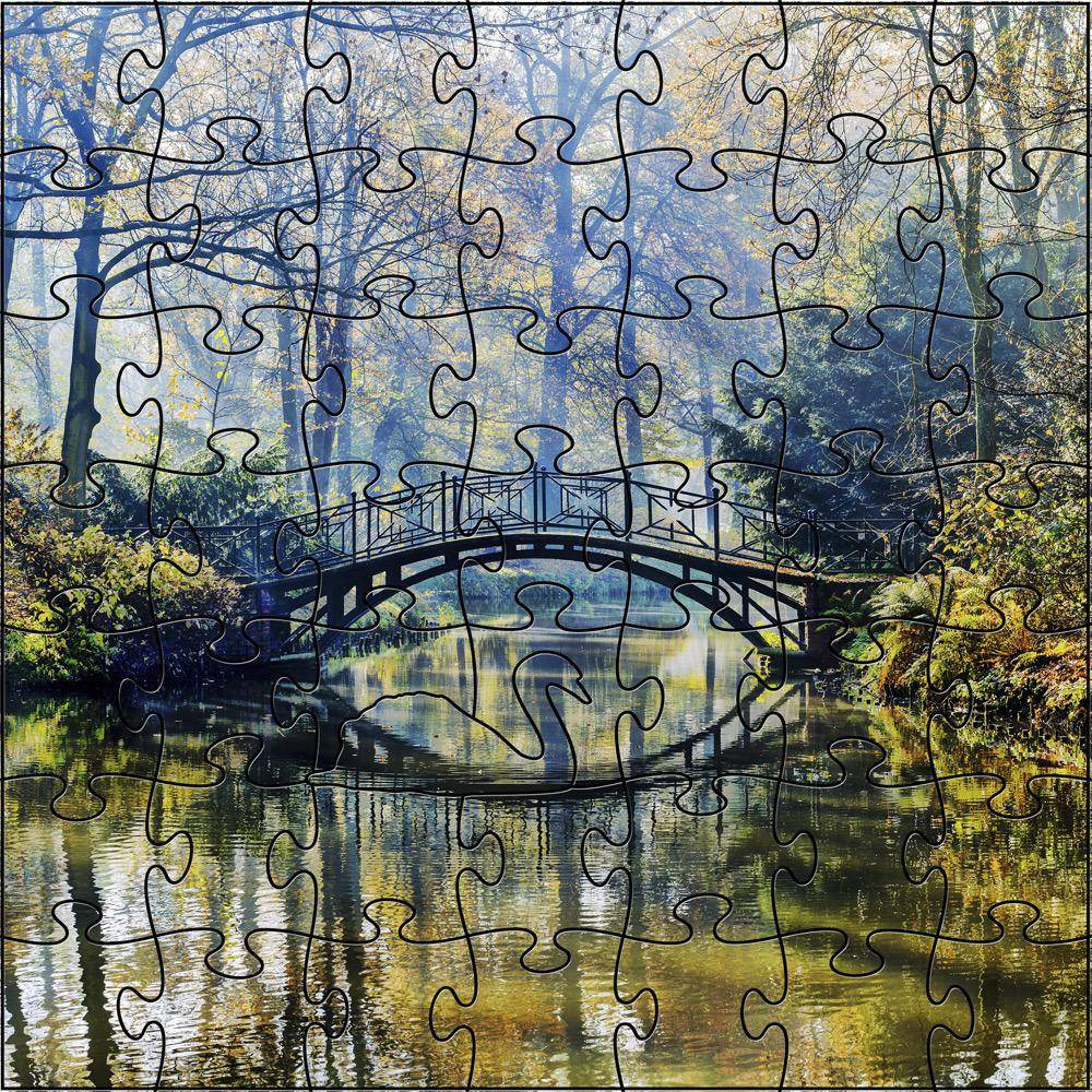 Rare Earth Gallery Autumn Bridge (Teaser, 50 Pieces, Artisanal Wooden Jigsaw Puzzle)