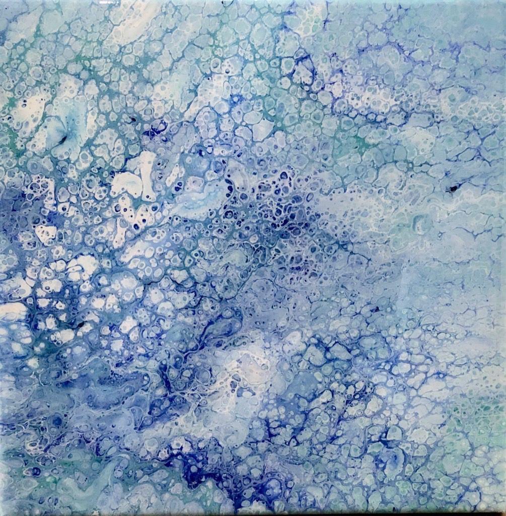 Sandra Stroot Bubbles in Blue (Fluid Acrylic, 12x12)