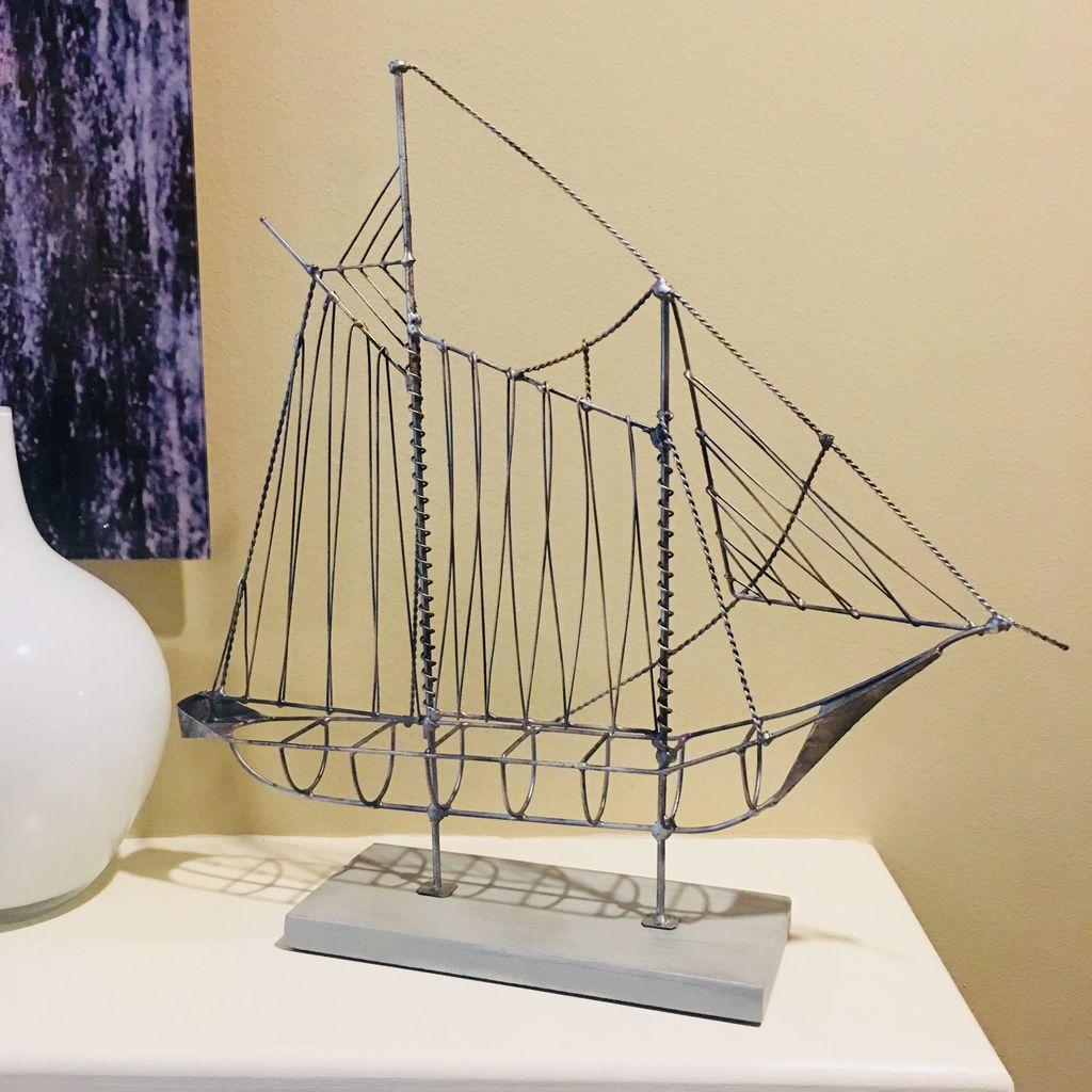 Rare Earth Gallery Sailboat (Wire, Gray)