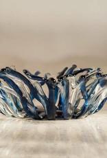 """Karen Hovis Coral Bowl (Blue/Clear, 14""""D x 3""""H)"""