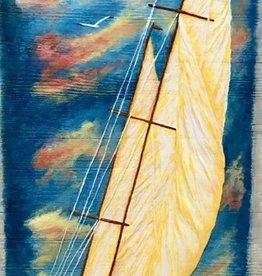 Carol Merritt Over the Ocean Blue (Original Acrylic, Signed, 12x36)
