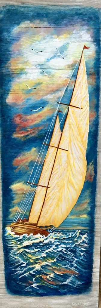 Carol Merritt Over the Ocean Blue (Original Acrylic, Signed, 12x36)