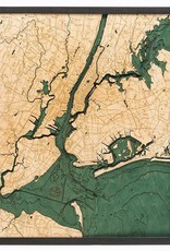 Rare Earth Gallery 5 Boroughs of New York (Bathymetric 3-D Wood Carved Nautical Chart)