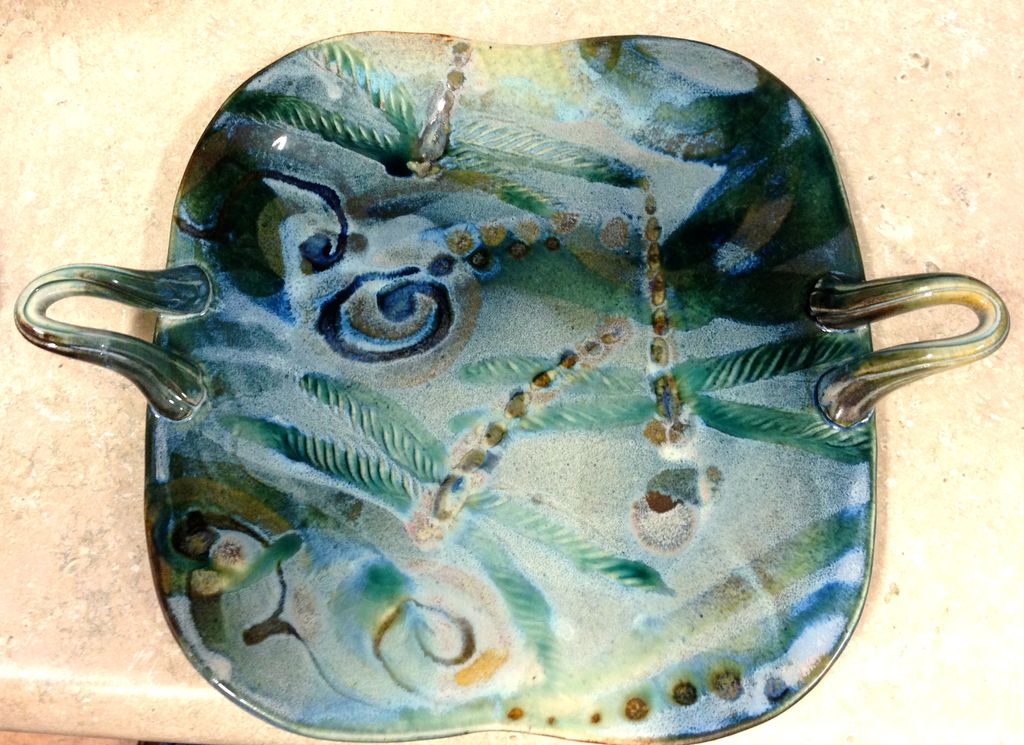 Gail Snively Platter, Square w/Handles (#407)