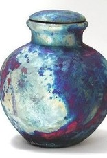 Rare Earth Gallery Vase (Raku, Round w/Lid, #027A)
