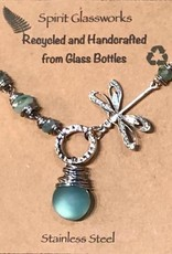 Rare Earth Gallery DRAGONFLY NECKLACE (Recycled Glass Bottles)