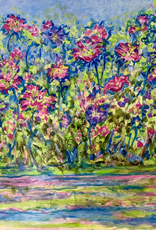 """Jane Miller Flowers on the Bank (Original Acrylic, Palette Knife, Signed, 24""""x30"""")"""