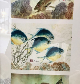 Ken Dara Fish Prints (Triples, Asstd., Gyotaku, Vertical, 20x10 Frame)
