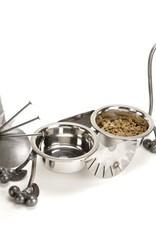 "Rare Earth Gallery Junkyard Cat, Feeder, Double 6"" Bowls"