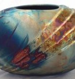 Rare Earth Gallery Vase (Raku, Oval Deco, #070)