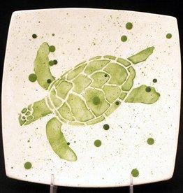 "Rare Earth Gallery PLATE (Dinner, Sea Turtle, Green, 8.5"" Sq)"