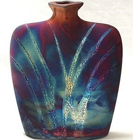 Rare Earth Gallery Vase (Raku, Flask, #165)