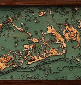 Rare Earth Gallery Lower Florida Keys (Bathymetric 3-D Wood Carved Nautical Chart)