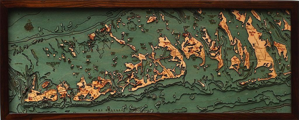 Rare Earth Gallery Lower Florida Keys Bathymetric 3 D Wood Carved