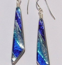 Rare Earth Gallery COMET EARRINGS (Dichroic Art Glass, Assorted Colors, #260)