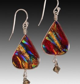 Rare Earth Gallery LOTUS EARRINGS (w/Crystal, Dichroic Art Glass, Assorted Colors, #280)